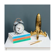 Classic Twin-Bell Alarm Clock - Silent 'No Tick' - Grey & Copper - Newgate (room decor) CGAM117MCGY 1