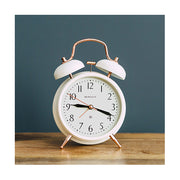 Classic Twin-Bell Alarm Clock - White Copper - Silent 'No Tick' - Newgate Brick Lane CGAM117MLW (homeware) 1