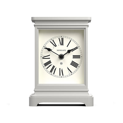Newgate Clocks Time Lord tall mantel clock in Overcoat Grey with classic style case and traditional Roman Numeral dial