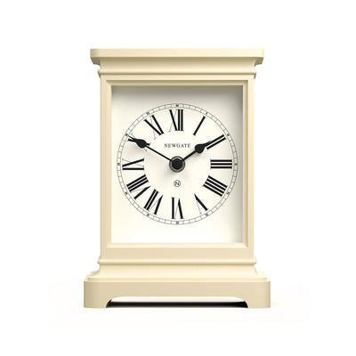 Newgate Clocks Time Lord tall mantel clock in Linen White with classic style case and traditional Roman Numeral dial