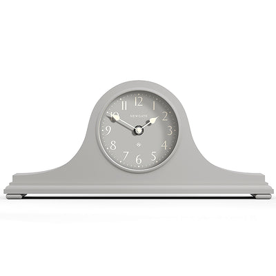 Newgate Clocks Time Machine mantel clock in Overcoat Grey with classic style case and contemporary Arabic reverse dial