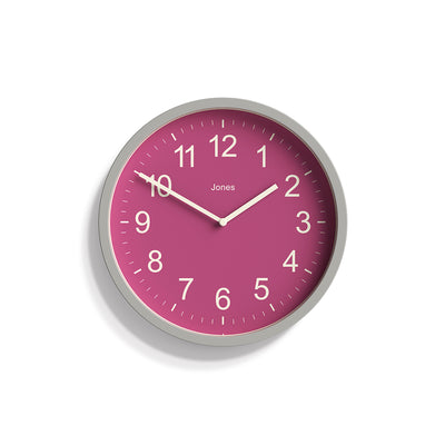 Cloud Grey and Pink House Warmer wall clock by Jones Clocks with an Arabic dial and straight metal hands - JHWARM231OGY