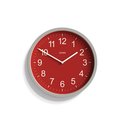 Cloud Grey and Red House Warmer Wall clock by Jones Clocks with an Arabic dial and straight metal hands - JHWARM376OGY