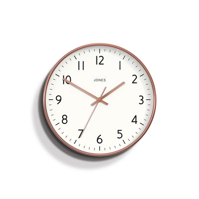 Copper Wall Clock Contemporary with easy to read dial- Jones Clocks Sudio JPEN52COP