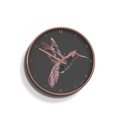 Academy copper Hummingbird wall clock by Jones Clocks with a copper foil and grey dial - JACA442COP