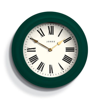 Decorative large Jones Cocktail wall clock in green with modern Roman numerals and double spade hands - JCOCKT662EDG