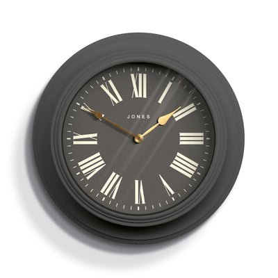 Decorative large Jones Cocktail wall clock in grey with modern Roman numerals and double spade hands - JCOCKT539BGY