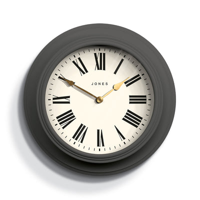 Decorative large Jones Cocktail wall clock in grey with modern Roman numerals and double spade hands - JCOCKT662BGY