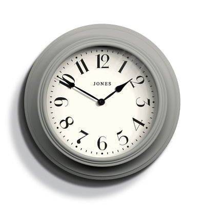 Decorative large Jones Cocktail wall clock in grey with classic numerals and double spade hands - JCOCKT111PGY