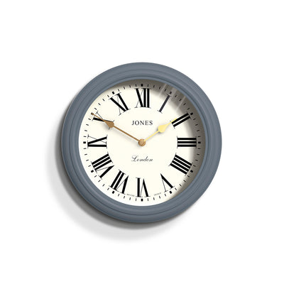 Jones Clocks Venetian classic wall clocks with pretty Roman Numeral dials and double spade hands - front