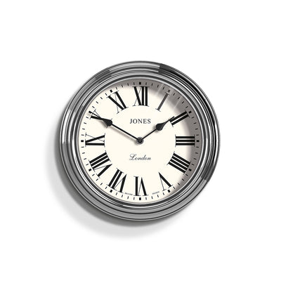 Jones Clocks Venetian classic wall clock in Chrome with a pretty Roman Numeral dial and double spade hands