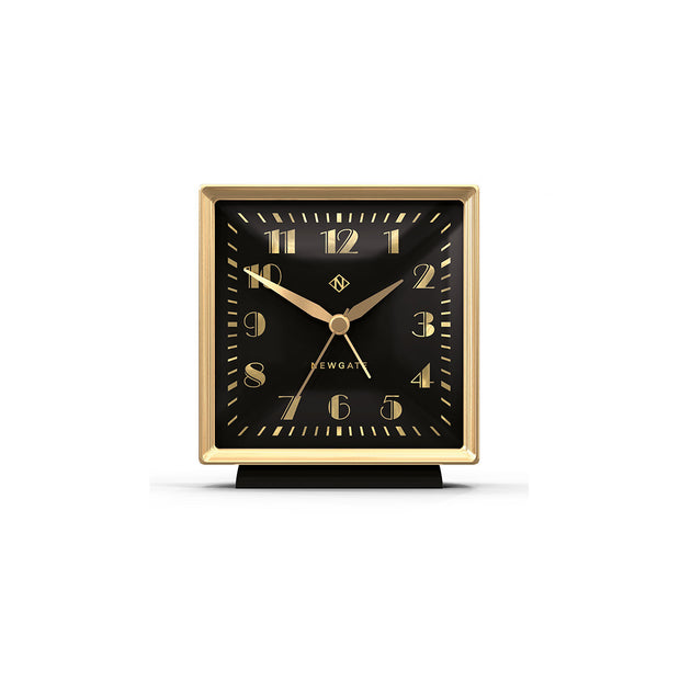 Decorative Alarm Clock - Silent 'No Tick' - Black & Gold Art Deco - Skyscraper SKY661CK (front)