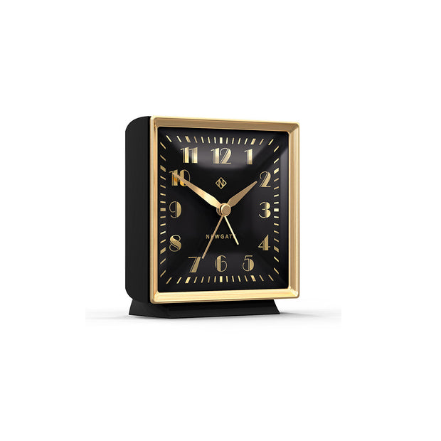 Decorative Alarm Clock - Silent 'No Tick' - Black & Gold Art Deco - Skyscraper SKY661CK (skew)