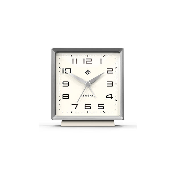 Decorative Alarm Clock - Silent 'No Tick' - Light Grey - Skyscraper SKY531LGY (front)