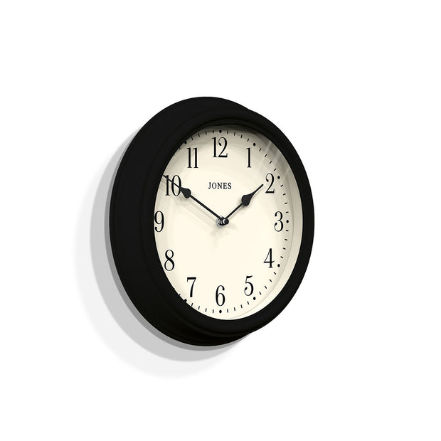 Decorative Black Wall Clock - Jones Clocks Venetian JVEN120K (skew)