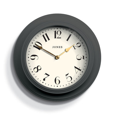 Decorative Grey Wall Clock - Jones Clocks Cocktail JCOCKT111BGY - front
