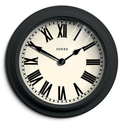 Decorative Roman Numeral Wall Clock Dark Grey - Jones Clocks Opera House JOPER1GGY - front