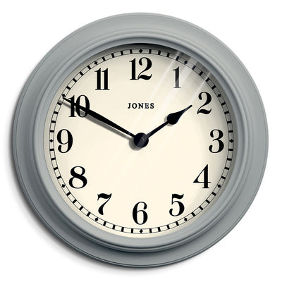 Decorative Grey Wall Clock Large - Jones Clocks Opera House JOPER122PGY - Front