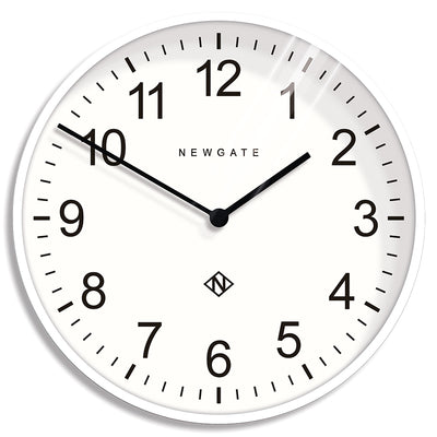 Extra Large Professor wall clock by Newgate World in Pebble White with a white Arabic dial and straight metal hands - NUMXPROF90PW