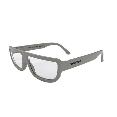 Feisty grey reading glasses by London Mole at an side angle