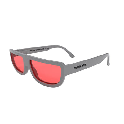 Feisty Grey and red sunglasses by London Mole open and on a skew