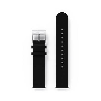 G6S Black Leather Watch Strap - Steel