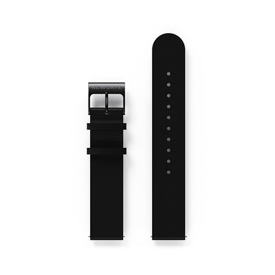 G6 Black Leather Watch Strap - Black Clasp