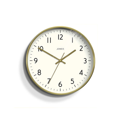 Gold Wall Clock Contemporary with easy to read dial - Jones Clocks Sudio JPEN52PB