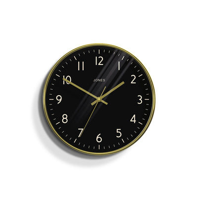 Modern Wall Clock Gold Contemporary With Reverse Black Dial - Jones Clocks Penny JPEN63PB