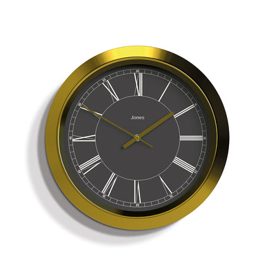 Brass and Grey Starlight wall clock by Jones Clocks with a reverse Roman Numeral dial and straight brass hands - JSTAR698BRB