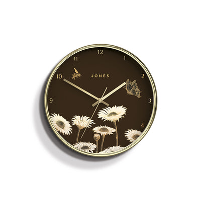 Academy gold Meadow wall clock by Jones Clocks with a gold foil and brown dial - JACA534PB