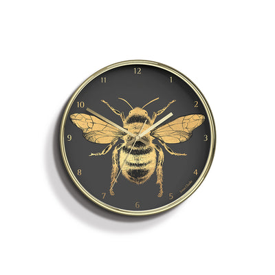 Academy gold Bee wall clock by Jones Clocks with a gold foil and grey dial - JACA357PB
