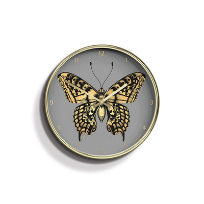 Academy gold Butterfly wall clock by Jones Clocks with a gold foil and grey dial - JACA169PB