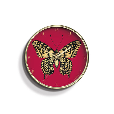 Academy gold Butterfly wall clock by Jones Clocks with a gold foil and pink dial - JACA496PB