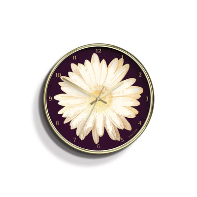 Academy gold Daisy wall clock by Jones Clocks with a gold foil and plum dial - JACA481PB