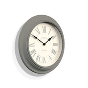 Grey Roman Numeral Wall Clock Decorative - Jones Clocks Supper Club JSUP218CGY (skew)