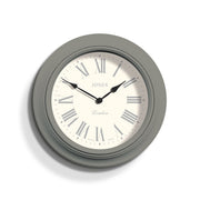 Grey Roman Numeral Wall Clock Decorative - Jones Clocks Supper Club JSUP218CGY