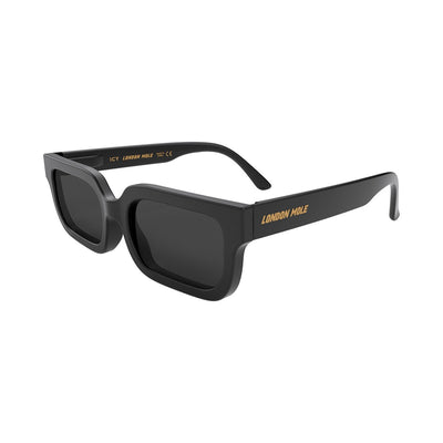 London Mole Icy black sunglasses with black lenses - open and skew