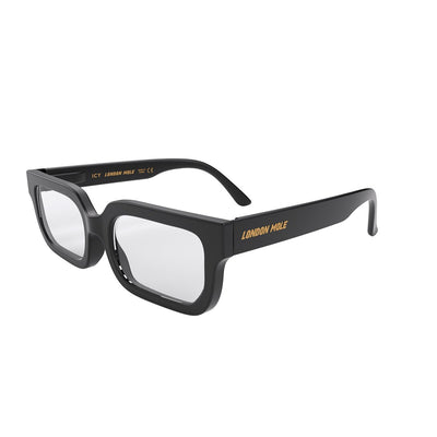 Icy reading glasses by London Mole in Black - open and skew