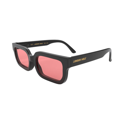 London Mole Icy sunglasses in black with red lenses - open and skew
