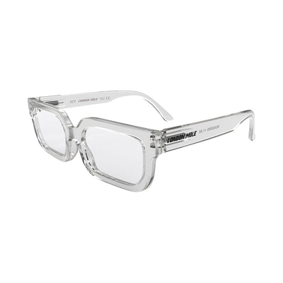 Icy transparent blue blocker glasses by London Mole - open and skewed