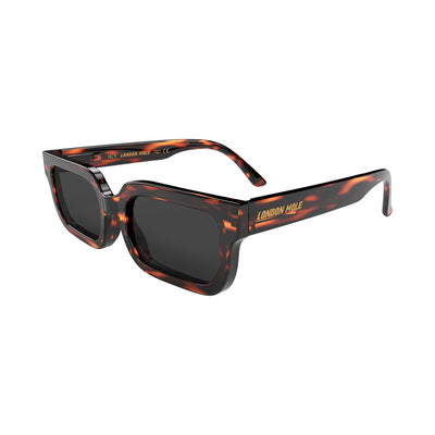 London Mole Icy sunglasses in tortoise shell with black lenses - open and skew