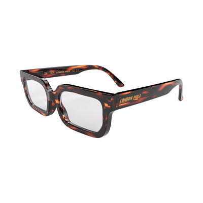 London Mole Icy reading glasses in tortoise shell - open and skew