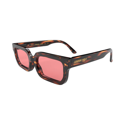 London Mole Icy tortoise shell sunglasses with red lenses - open and skew