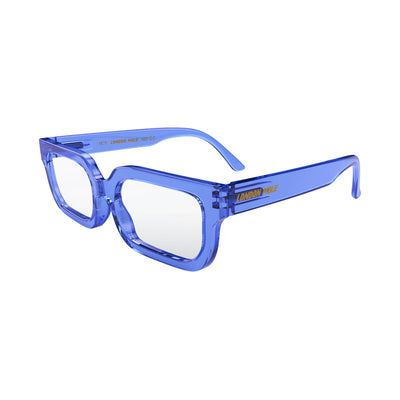 Open skew view of the London Mole Icy Blue Blocker Glasses in Transparent Blue