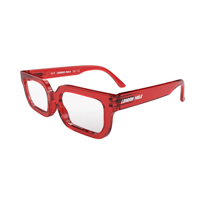 Open skew view of the London Mole Icy Reading Glasses in Transparent Red