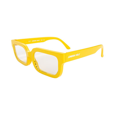Icy yellow Blue Blockers by London Mole open and on a skew