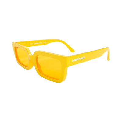 London Mole Icy sunglasses in yellow with yellow lenses - open and skew