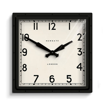 Industrial Metal Wall Clock - Square Black - Newgate Quad QUAD42K (front)