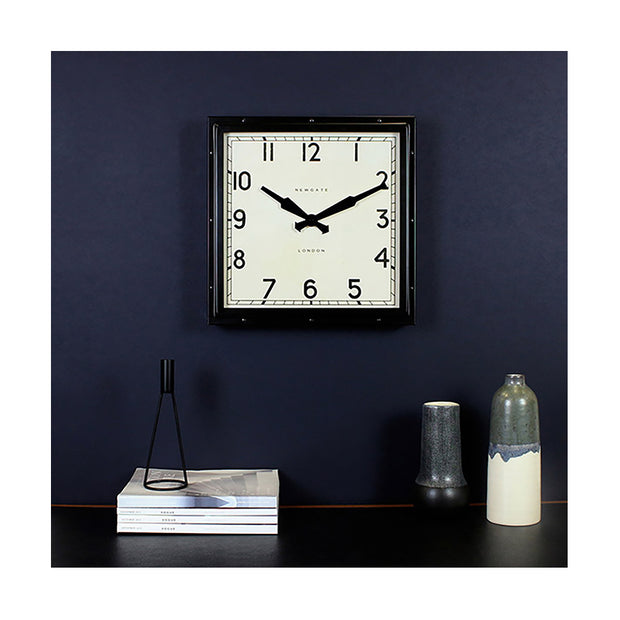 Industrial Metal Wall Clock - Square Black - Newgate Quad QUAD42K (homeware) 1 copy